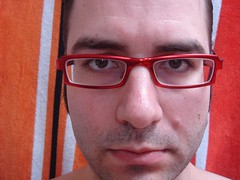 red closeup glasses eyes shiny eyeglasses titanium stubble 111v1f superspecs