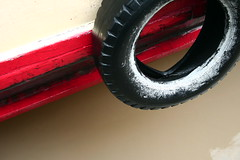 ringed (Farl) Tags: travel colors river circle boat paint delta tire vietnam mocha round waters mekong bluelist