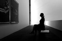 Nina (...like a chimp with coconuts) Tags: bw woman girl silhouette museum bench sitting balcony paintings bank exhibit silouette exhibition ponytail pinakothekdermoderne pinakothek pdm mg2402