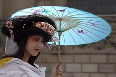Blue Brolly (MykReeve) Tags: blue london girl face japanese hand dancer parasol geisha stpaulscathedral stilts stiltwalker cityoflondon cityoflondonfestival