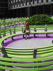 NYC #38 (digital_freak) Tags: nyc newyork hat contrast bench circle spiral manhattan tribeca civiccenter federalplaza digitalfreak gorgeousfrenchladythatyoucanhardlysee