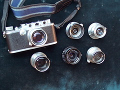 My Leica Thread Mount (LTM)  lenses: Collapsible Summicron 50/2 (on camera); Elmar 35/3.5; Elmar 50/3.5; Summitar 50/2; Color Skopar 28/3.5; Summar 50/2 (jiulong) Tags: camera leica color summicron elmar 502 skopar 2835 summar collapsible 5035 summitar 3535