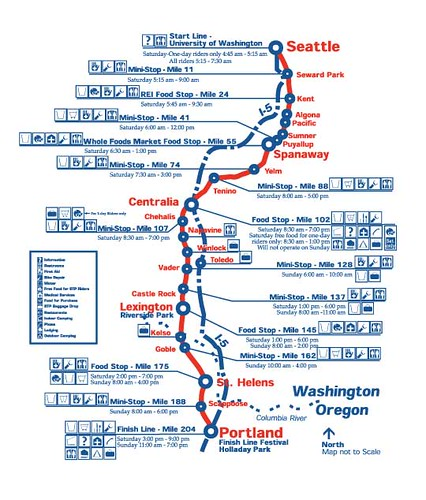 Route map of the Seattle to Portland Bike Classic on July 15 and 16th