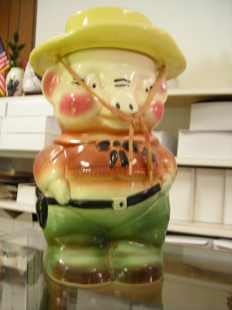 Western Pig Cookie Jar - Natural Light