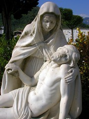 avenza - cemetary sculpture (AmyEmilia) Tags: italy sculpture cemetary mary jesus marble carrara avenza