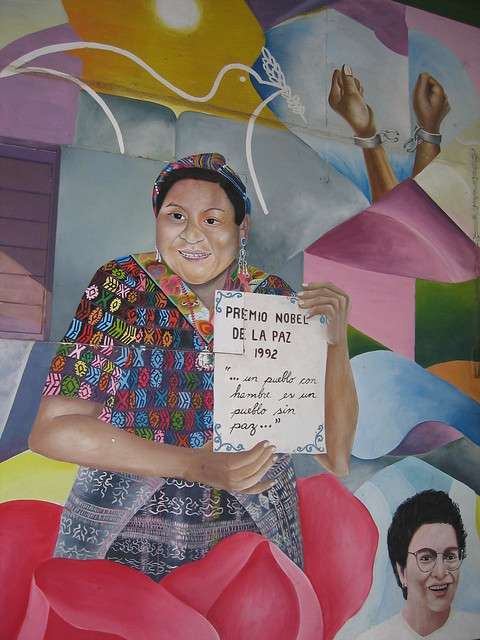A Mural of Rigoberta Menchu holding her Noble Peace Prize