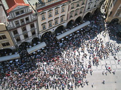Crowd In Old Town Square (Ryan Hadley) Tags: people tower skyline square europe prague crowd worldheritagesite czechrepublic oldtown oldtownsquare oldtownhall starmsto pragueskyline