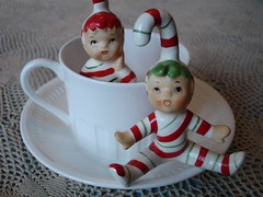 Peppermint Tea (Patrick Q) Tags: china christmas red white holiday cute cane kids vintage table toy toys interestingness eyes junk candy tea d stripes bisque adorable scout kitsch explore elf fairy figurines 1950s noses fairies dust figurine granny glance collect peppermint wedgewood elves curiocabinet lefton sideglance i500 interestingness333 candycanekids explore333