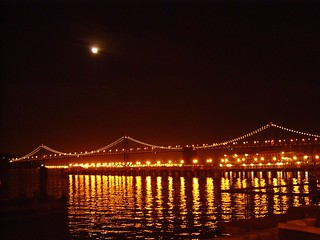 the moon and bay bridge