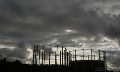 dark skies above (Rebecca Key) Tags: silhouette architecture clouds digital dark manchester foreboding towers x canon350d brooding salford miserable liverpoolst darkskies