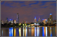 Albert Park Lake (aumbody images) Tags: city longexposure light sky lake colour water night reflections quality australia melbourne victoria 30d tamron2875 albertparklake spectnight aumbodyimages abigfave
