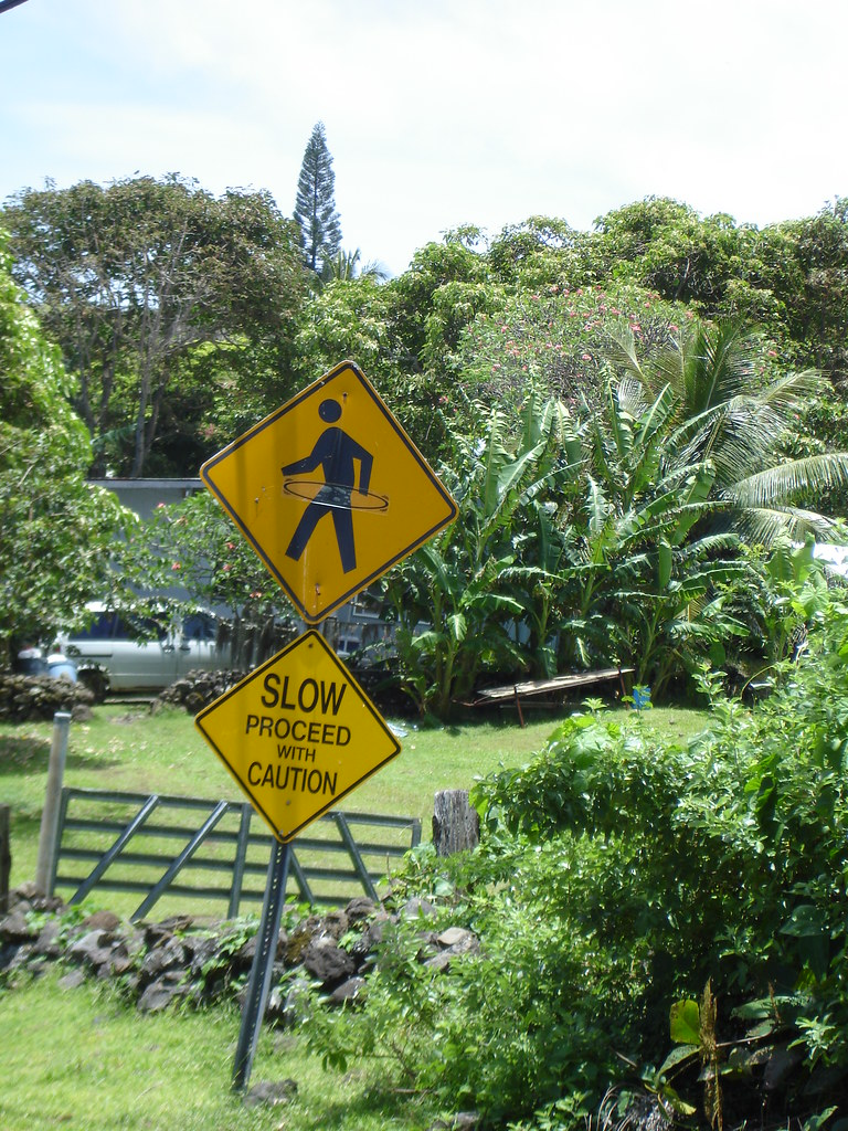 Slow!  Proceed with Caution!  Hula-hoopers crossing!
