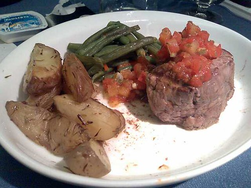 Pan-seared filet mignon with tomato chimichurri