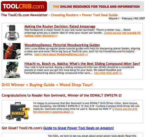 ToolCrib.com Newsletter