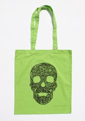Swirly Skull Tote (green) (Wayne Chisnall) Tags: pink blue red orange green yellow skulls skeleton grey screenprint lilac cotton bones forgetmenot bags tote shopper totes deathshead totebags shoppingbags tattoodesign screenprints artprints tattoodesigns sull deathhead screnprint cottonshoppingbags cottontotes artbags skulldesign cottonshoppingbag skulldesigns shopperbags skeletondesign artistsscreenprints colouredtotes skeletondesigns artistsbags greygreenlilac artshoppingbags