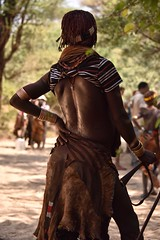 Hamar Tribe, Turmi, Ethiopia (Rod Waddington) Tags: africa woman female jumping african traditional ceremony trumpet tribal bull whip afrika omovalley ethiopia tribe ethnic hamar wounds hamer ethnicity whipped afrique whipping ethiopian omo etiopia