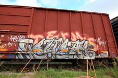 (o texano) Tags: bench graffiti texas ant houston trains swear freights terms benching