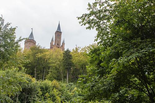 Vue sur le château de Hohenzollern depuis la forêt