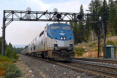 Amtrak 6 (caltrain927) Tags: california ca railroad bridge west ex train pacific union norden pass southern signals amtrak sp zephyr passenger ge signal uss donner searchlights wayside seachlight p42dc