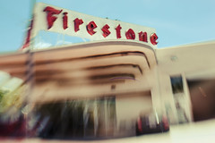 Pretty Iconic (Jodie Dobson (Moving Country) is that busy?) Tags: street blue red urban usa blur lensbaby america canon vintage blurry florida miami icon tires americana artdeco firestone manual redandblue dslr canondslr iconic southbeach manualfocus sweetspot primelens radlab blurart lensbabyoncanon lensbabysweet35 sweet35