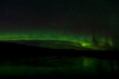 101515 - A dark night lit by a band of green (Nathan A) Tags: autumn green nature alaska night stars outdoors ak aurora fairbanks northernlights auroraborealis salcha geomagnetic