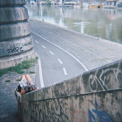 Relaxing Rome (alamvpink) Tags: street italy rome 120 6x6 film girl stairs analog reading book lomo lomography relaxing diana daytime