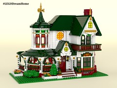 Victorian Dream Home on LEGO Ideas - Exterior (buggyirk) Tags: building whimsical district creator house queen victorian modular buggyirk historic architecture historical home anne dream bassinet piano grand baby figure minifigure lego afol moc dark green red white orange fireplace bedroom living room dining dinette set wing chair tufted couch interior exterior garden turret tower gable finial stained glass window porch grandfather clock chandelier light brick built spiral staircase stairs pillar flower tree bush ideas crawl space vent arch tile family legodreamhome fantasy whimsy miniature