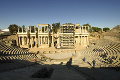 Restoration Roman Theater Merida (rschnaible) Tags: merida spain espana europe roman ruins circa 15 16 bc ancient old history historic coliseum theater amphitheater sightseeing tour tourist building architecture