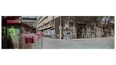 STORMTROOPERS AND SHOPPING CARTS (daz672) Tags: yashicagsn fujicolorpress800 street film fujifilm panorama stormtrooper shopping cart electro35 c41 colour alley