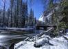 Yosemite under the stars. (Eric Zumstein) Tags: startrails yosemite nationalpark night longexposure canon river landscape yosemitevalley snow bridge