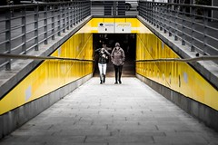 dirty yellow (alexhaeusler) Tags: street yellow people emerging underpath dirty