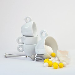 What's for Breakfast? (njk1951) Tags: eggs yolks eggyolk yellow yellowaccent white whiteonwhite squareformat cups whitecups expressocups whitecup stackedcups stilllife fork pewterfork eggshell food breakfast