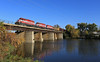 Coming back to town (GLC 392) Tags: wsor wisconsin southern railroad railway train wamx watco emd sd402 janesville wi perfect reflection water river damn bridge sunrise fall awesome life amazing 4007 4010 4004 goose t002 outdoor building architecture boat vehicle tree clear sky dam