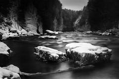 Snowy River Solitude (andrewpmorse) Tags: elora eloragorge river rocks cliffs longexposure water winter landscape canon 6d leefilters snow cold canada ontario blackandwhite