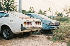 Rusty Treasures (benriley80) Tags: thai thailand prachuap huahin scrapyard abandoned wreck mitsubishi galantgto lancer gto rust rusty jdm kyusha oldschool film nikonf3 f3 50mm