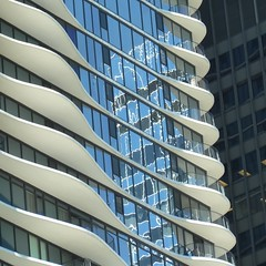 Chicago, Aqua Tower, Abstract (Architect: Jeanne Gang) (Mary Warren (8.1+ Million Views)) Tags: blue chicago abstract reflection building architecture balconies wbez chicagoist explorechicago condobuilding aquatower jeannegang timeoutchicagophotogroup gapersblockchicago outofchicago