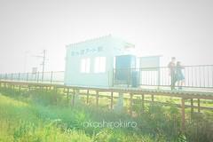 田んぼアート駅 (akashirokiiro) Tags: station train railway aomori 青森 駅 鉄道 列車 inakadate 弘南鉄道 xperia 田んぼアート 田舎館村 xperiaz3