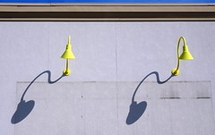 Yellow lamps with Shadows (Wits End Photography) Tags: city light urban building lamp yellow metal wall bulb catchycolors outside twins midwest couple shadows exterior outdoor duo pair stlouis twin double structure american missouri lantern saintlouis metropolitan dyad flickrchallengegroup flickrchallengewinner