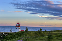 Grande-Rivire Lighthouse after sunset (Danny VB) Tags: ocean flowers sunset sea summer sky lighthouse seascape canada water grass clouds canon landscape photography eos quebec gaspesie 6d 2015 granderivire lighthouseatsunset summerlandscape canoneos6d canadalighthouse ef70200mmf28lisiiusm gaspesielighthouse