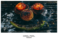 (Oriel Perl) Tags: red bw white black color green smile vegetables canon tomato fire cool nikon colorful dof burger smoke sony grill vegetarian onion coal deconstructed welldone mediumwell vegiburger vsco orielperl