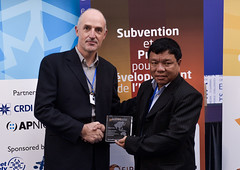 ISIF ASIA and FRIDA AWARDS 2012 .In the category of Innovation on access provision, the winner is Nepal Wireless Networking Project (Nepal), represented by Mr. Mahabir Pun. Trophy presented by Geoff H
