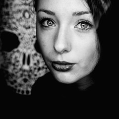 Amor (Christine Lebrasseur) Tags: portrait people blackandwhite woman france art 6x6 canon skull teenager fr onblack throughwindow gironde 500x500 camilleb saintloubes allrightsreservedchristinelebrasseur
