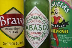 Eat your reds and greens (Arne Kuilman) Tags: colors pepper bravo bottles mexican condiment packaging labels tabasco hotsauce brands saus flesjes jalapeo mcilhenny manuelas hotsauces molhodepimenta hetesauzen hetepeper