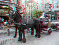 Bosteels Bierwagen Brussel 3D (wim hoppenbrouwers) Tags: horse beer cheval 3d anaglyph stereo bier brussel kwak biere paard bosteels redcyan bierwagen paardenkar bruggenhout brouwerijkar