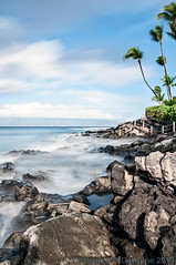 Puna Point - Daytime Long Exposure _DSC0715 (Zeta_Ori) Tags: longexposure moon hawaii islands pacific maui palm tropical crescentmoon napili napilibay napilikaibeachresort nikond90 waningcrescentmoon punapoint