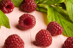 raspberries (Food Photography Studio) Tags: light fruits leaves fruit bright fresh raspberries unprocessed