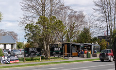 Cafe Busy (Jocey K) Tags: street trees newzealand christchurch people house building cars architecture spring cafe bealeyave