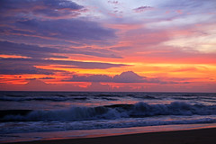 Layers of Color (lightonthewater) Tags: kittyhawknc ocean outerbanks sunrise clouds waves sky sand sun