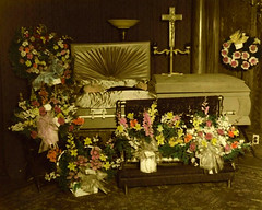 In Repose (~ Lone Wadi ~) Tags: funeral wake coffin casket death postmortem deceased flowers funeralhome retro 1950s unknown corpse