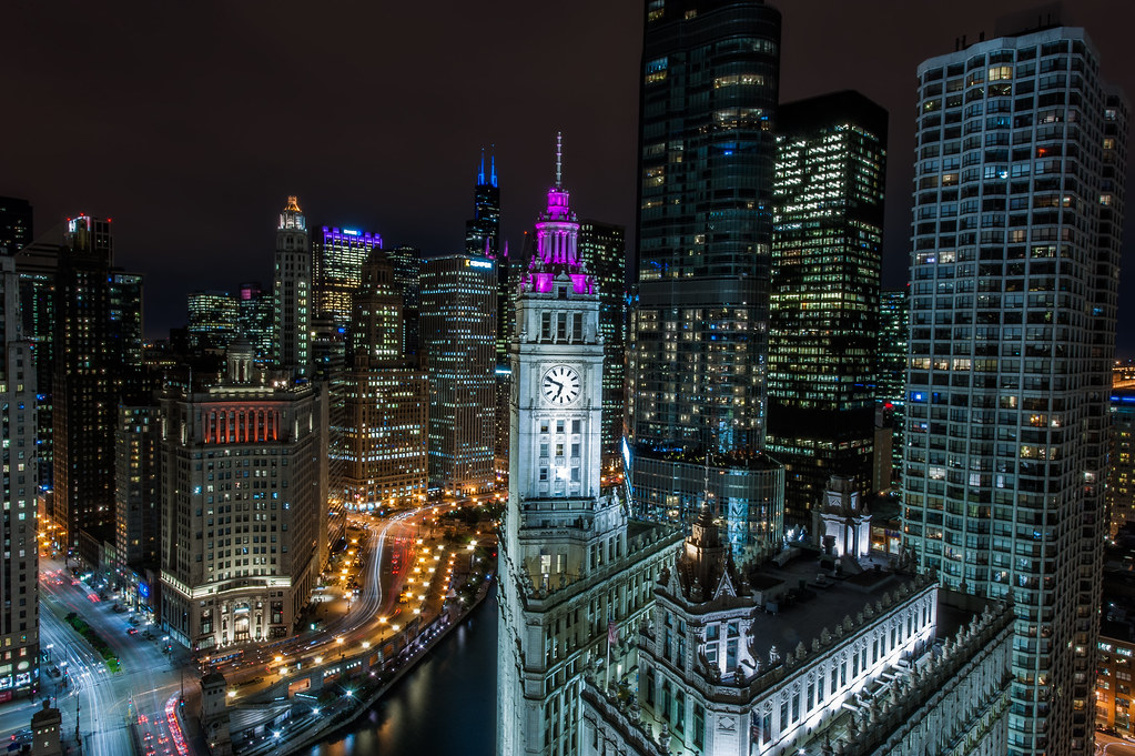 The nighttime version of this spectacular view from the Veranda of Tribune Tower.